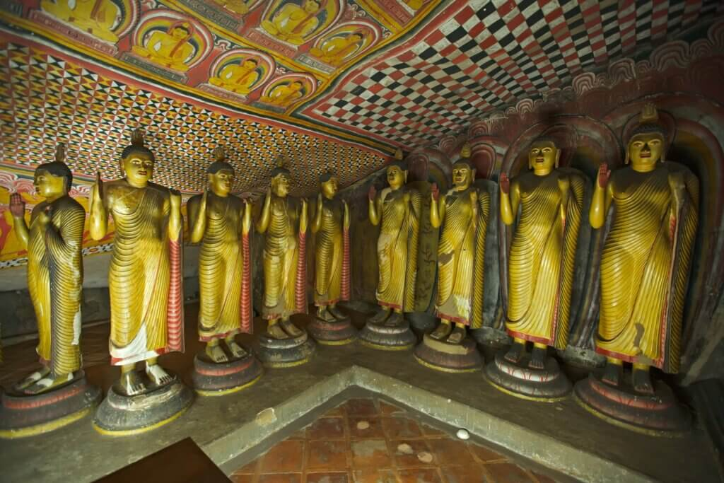 Image of Ancient Buddha images in Dambulla Rock Temple caves