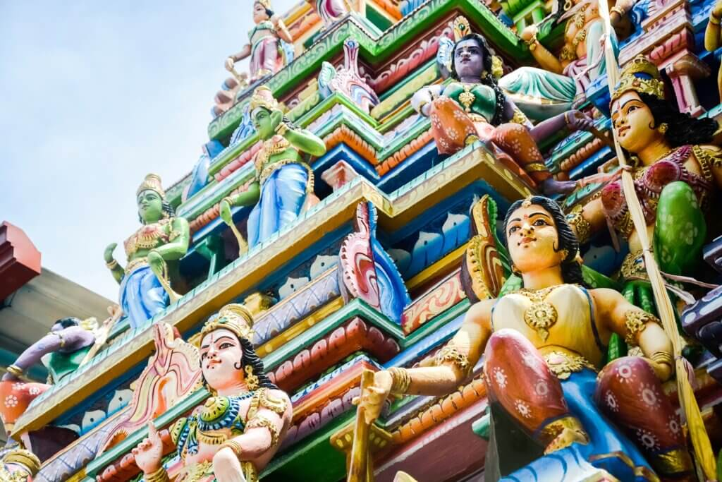 Image of Colorful statues on Hindu temple top