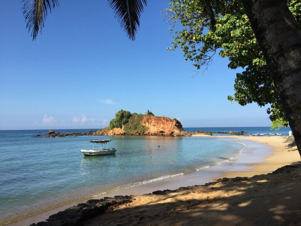 Image of View of the sea with boat Mirissa beach