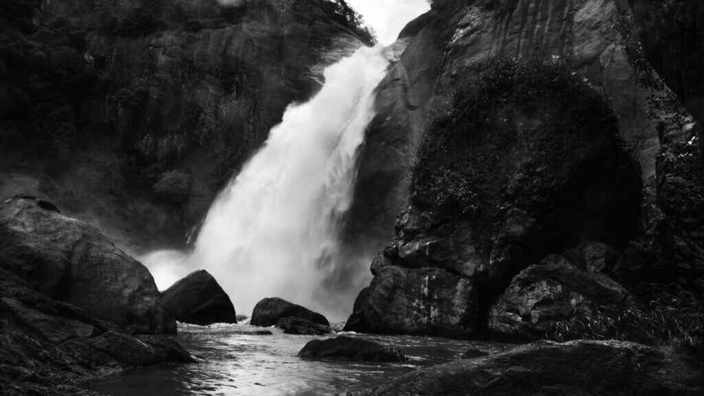 Image of black and white waterfall landscape