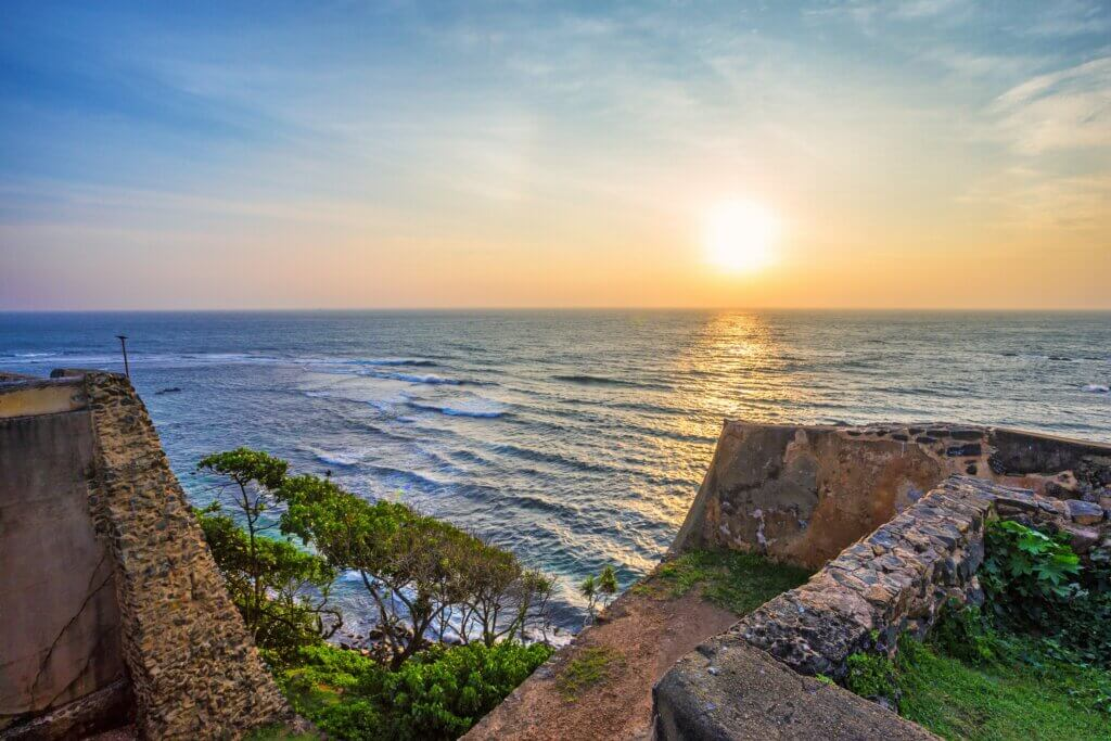 Image of Scenic view of sunrise Galle