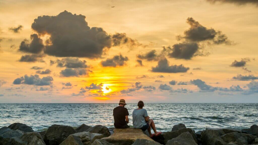 Image of Sunset at the beautiful tropical Negombo beach