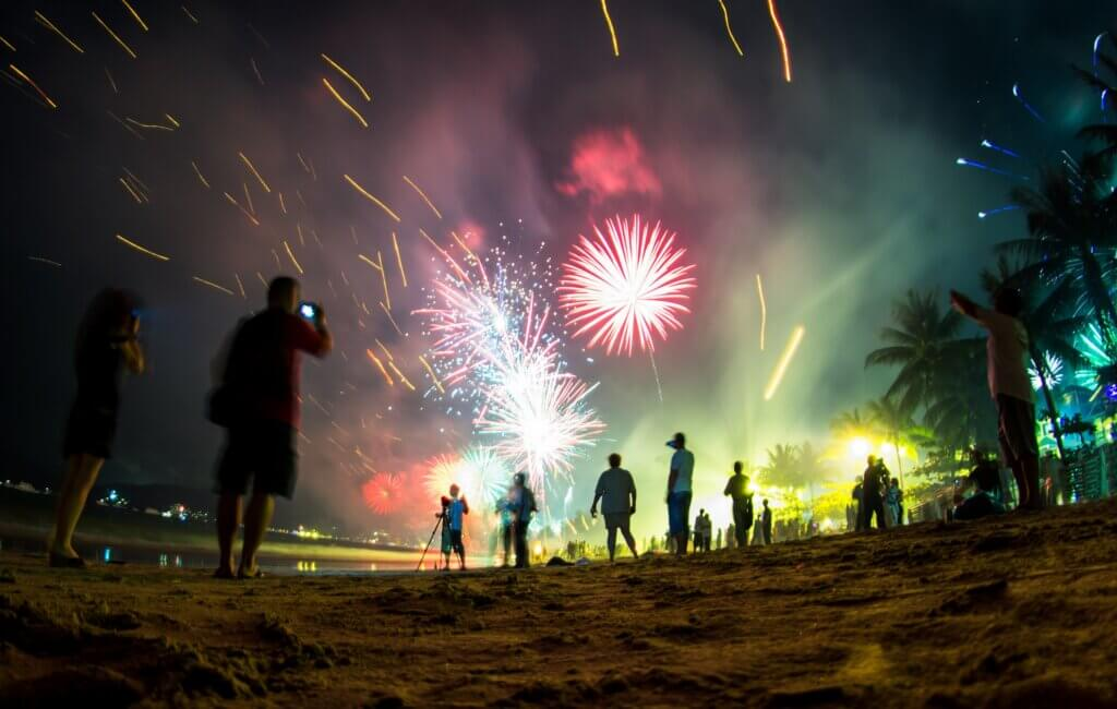 Image of Colorful fireworks on the beach