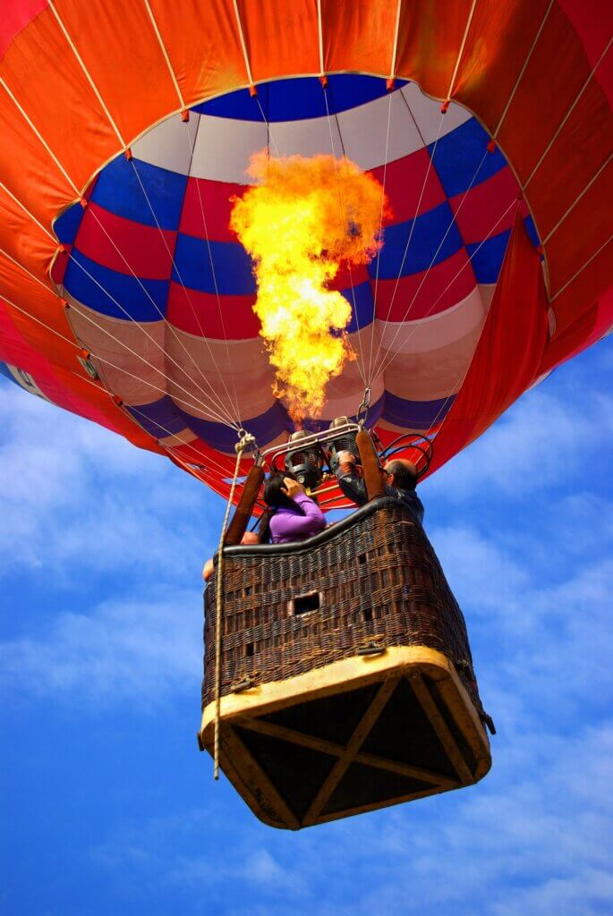 Image of Colorful hot air balloon with bright burning flame in sri lanka