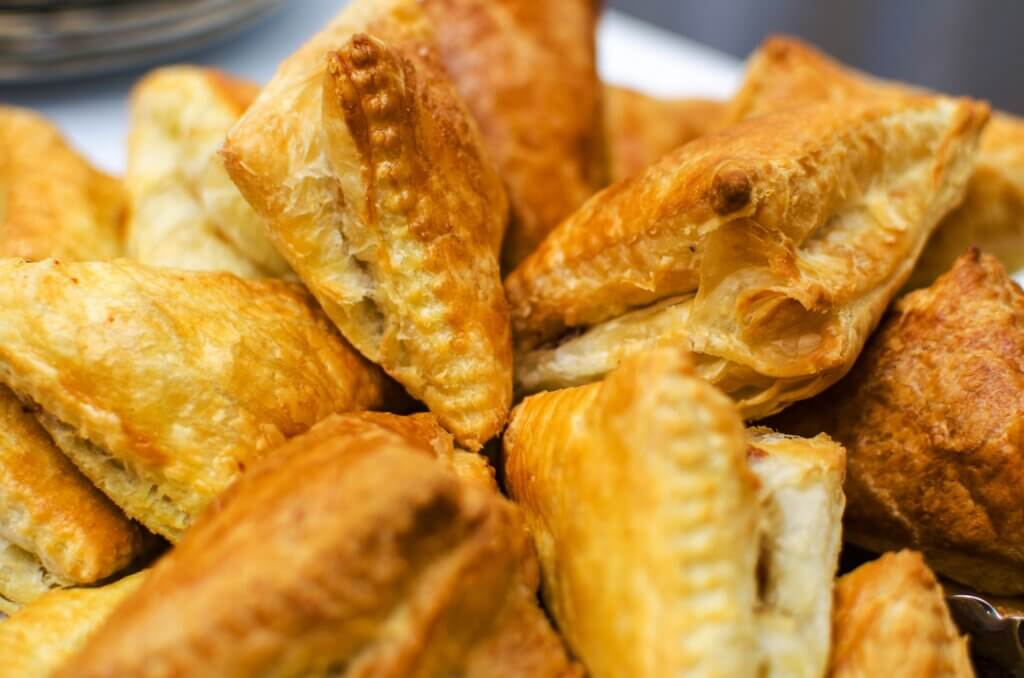 Image of Crispy fried patties from puff pastry closeup