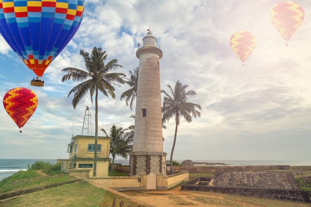 Image of Lighthouse in fort Galle seascape in Sunlight Rays