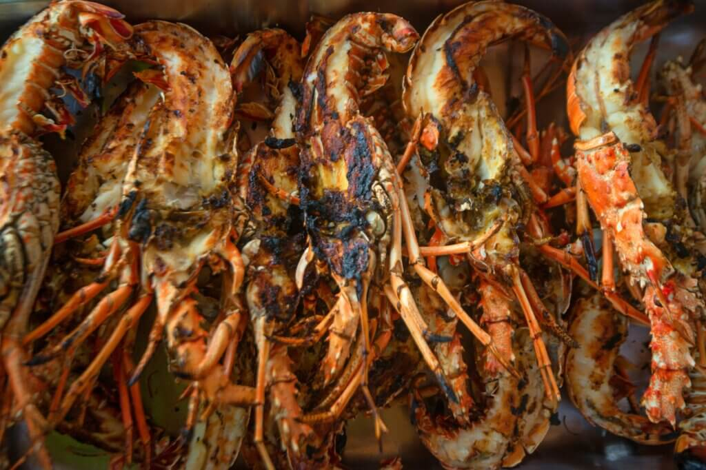 Image of Many tasty prepared lobsters cut into two pieces sri lanka