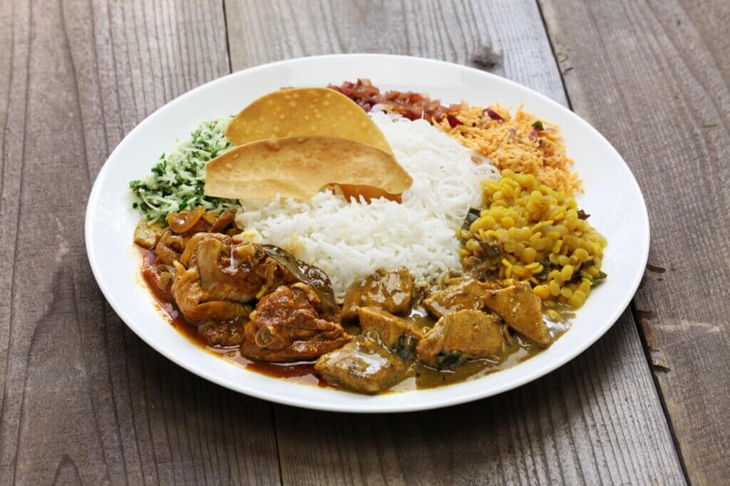 Image of Rice and curry sri lankan cuisine