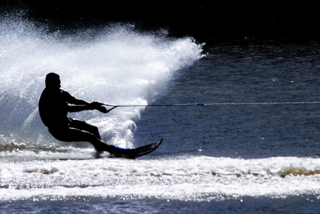 Image of Silhouette of a water skier in action sri lanka
