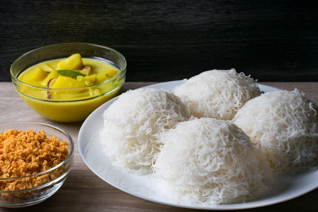 Image of String Hoppers or indiappa Sri Lankan food in dark background