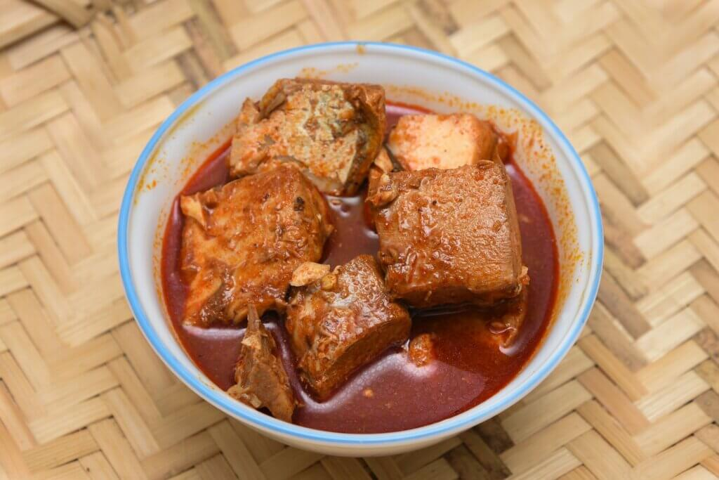 Image of Top view of Spicy King Fish Curry