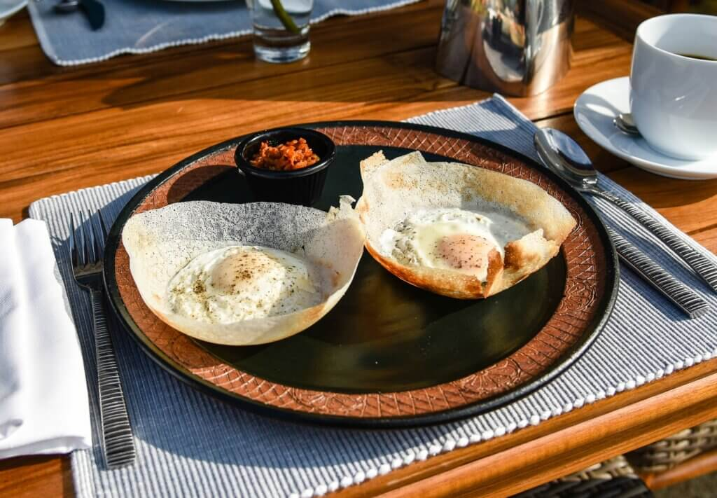 Image of Traditional Sri Lankan breakfast crepes.