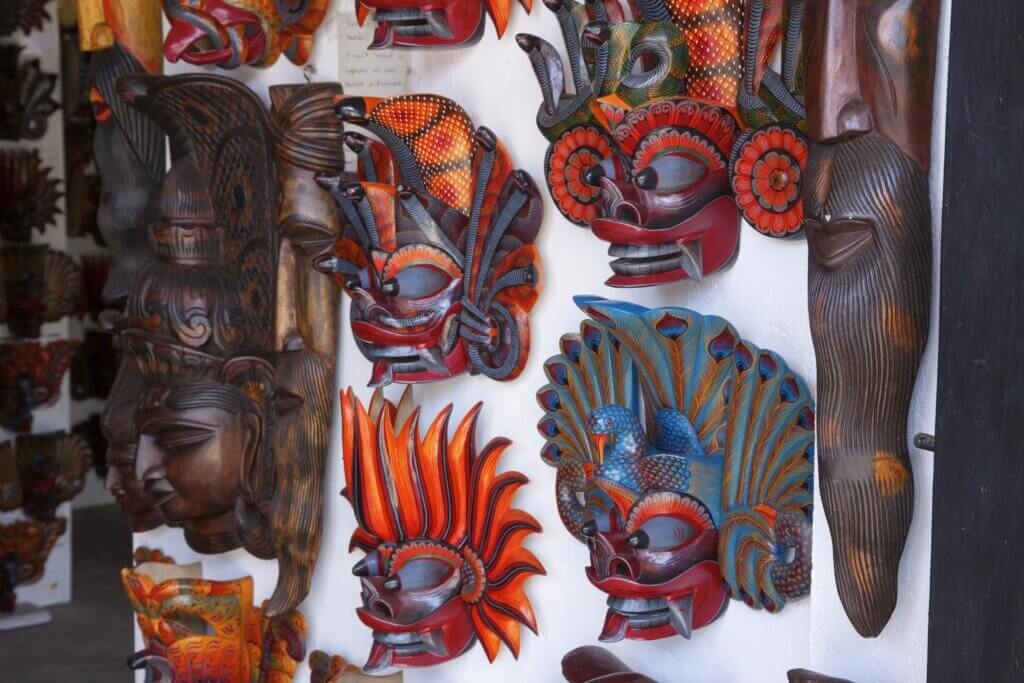 Image of Traditional devil masks at street shop in Hikkaduwa