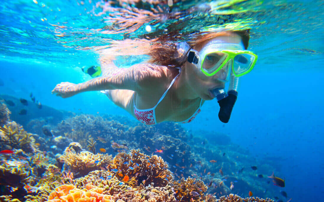 Image of Woman with mask snorkeling in clear water over vivid coral reef