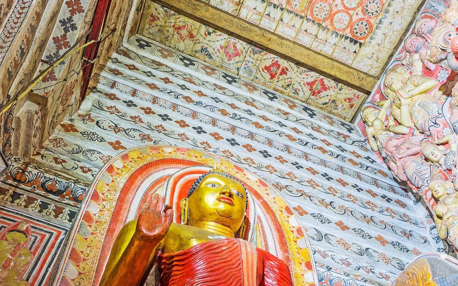 Image of The ceiling and walls Lankathilaka Vihara covered with fine floral patterns sri lanka